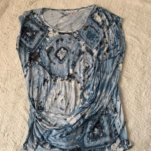 CAbi size Small Tie die sleeveless Top draped GUC